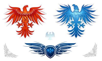 Heraldic eagles vector set