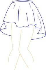 short skirt  over white sketch