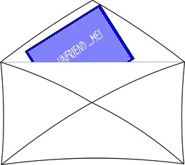 unfriend me note in envelope part of a set