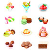 Colorful icons with yummy sweets isolated