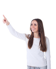 Woman pointing at sign