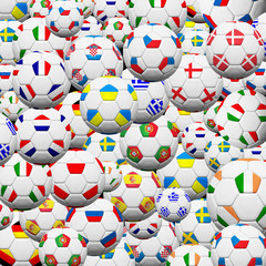 Soccer ball of final team  in Euro 2012  background