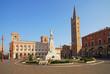 Forli Saffi square with Aurelio Saffi statue