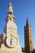 Forli  Saffi statue and  Saint Mercuriale  bell tower