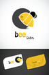 Stylized bee icon and business cards