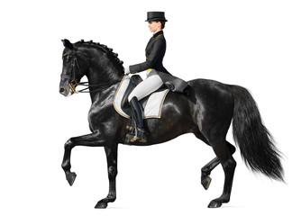 Dressage - black horse and woman