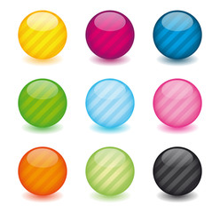 Striped rounded web buttons