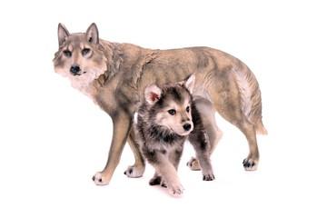 Wolfshund Welpe mit Wolfsfigur