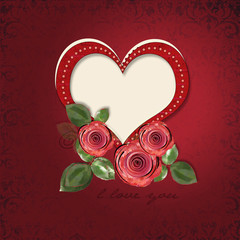 Greeting card with heart and roses