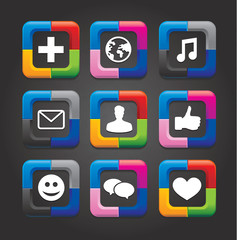 set of nine vector social media buttons on black background