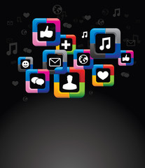 social media background with buttons - vector