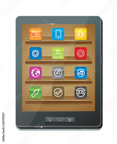 tablet computer with application icons - vector illustration