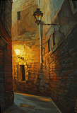 medieval street in gothic quarter of barcelona, painting, illust