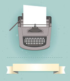 typewriter in retro style - vector card