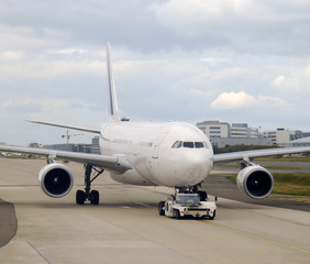 Passenger jet airplane taxiing
