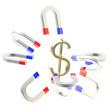 Horseshoe magnets attract golden USA dollar symbol