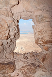 Porthole in the Masada fortress ruins, Israel