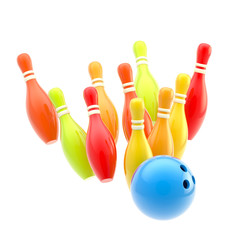 Bowling ball smashing to colorful pins isolated