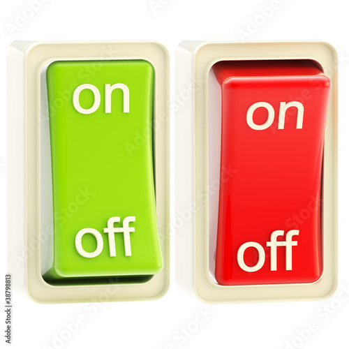 On and off switch tumblers isolated