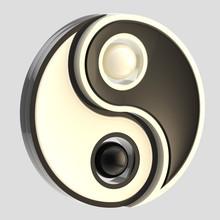 Yin-Yang balans zwart en geïsoleerde wit embleem