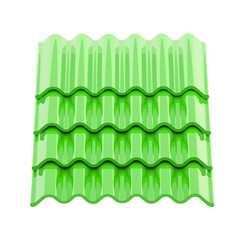 Glossy green roof tiles isolated