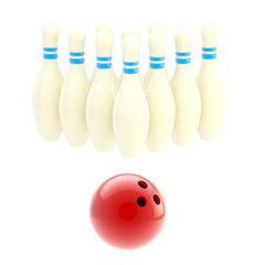 Bowling ball with ten white pins