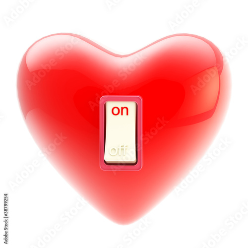 Love is on switch tumbler isolated on white