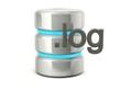 Metallic log data base icon isolated on white