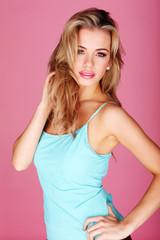 Pretty Blonde In Blue Summer Top