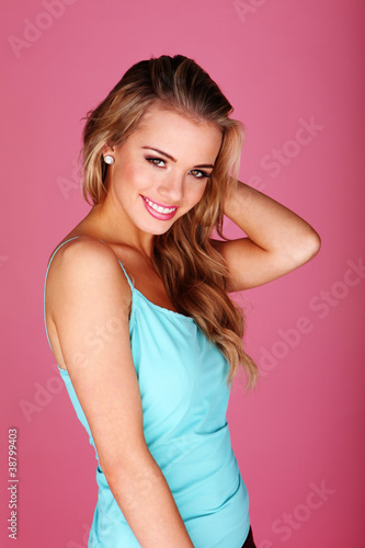 Casual Blonde Girl With Big Smile
