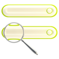 Search bar under the magnifier icon isolated