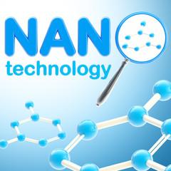 Nano technology blue glossy background