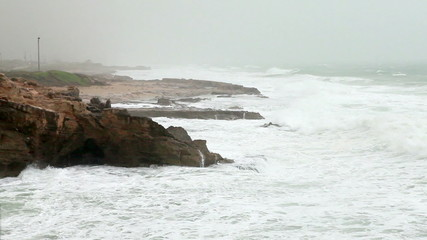 Stock Video Footage of waves crashing on the rocky Rosh Hanikra shore in Israel.