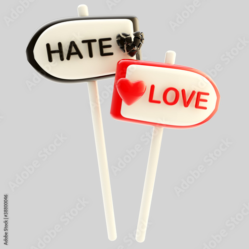 Love and hate signpost signs isolated