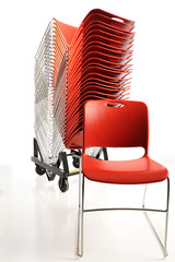 Stack of portable chairs