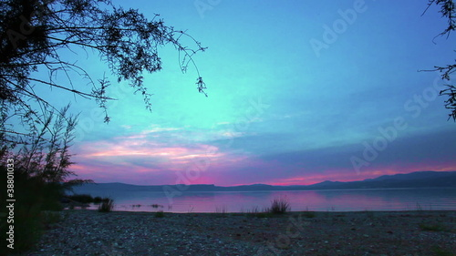 Stock Video Footage of the sky at sundown over the Sea of Galilee in Israel.