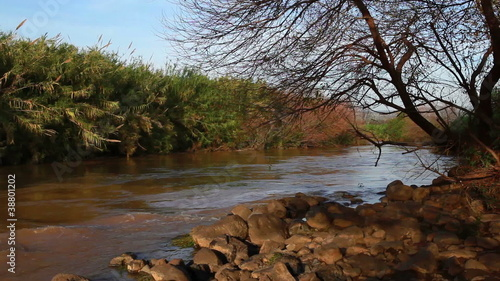 Stock Video Footage panorama of the River Jordan in Israel.