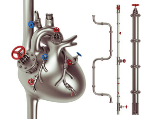 Metal industrial heart and vessel 3d illustration