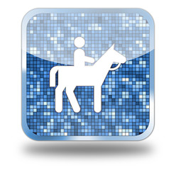Horseback riding Glossy Button