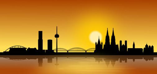 Köln Skyline Sonnenuntergang