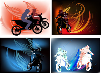 men on motorcycles in flame illustration