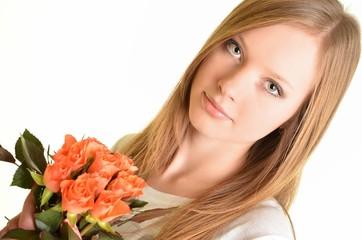 portrait de femme avec roses