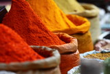 Traditional spices market in India.