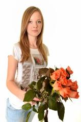 femme avec roses isolé