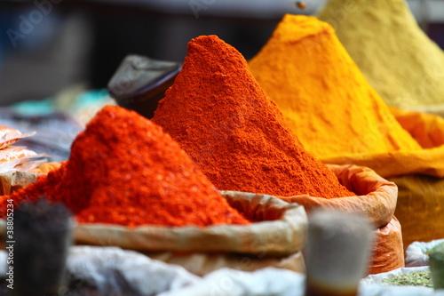 Leinwandbild Motiv Traditional spices market in India.