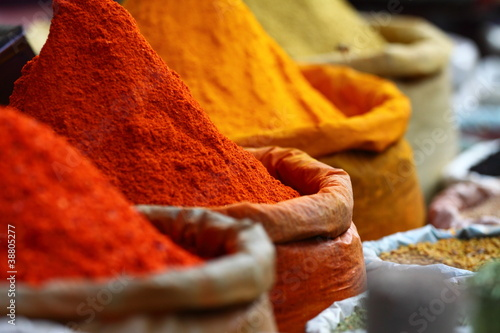 Traditional spices market in India. - 38805277