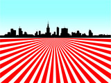 Fototapety Warsaw skyline prospect on red and white rays