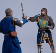Two medieval knights fighting.