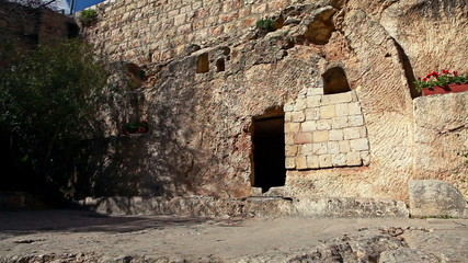 Stock Video Footage of the Garden Tomb in Israel.
