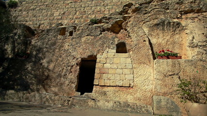 Stock Video Footage of the Garden Tomb entrance in Israel.